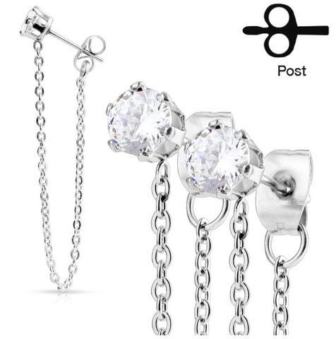 Pair of Chain Drops Prong Set CZ Stainless Steel Ear Stud Rings 20ga - BodyDazzle