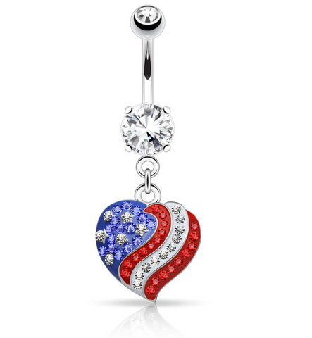 Crystal Paved American Flag Heart Dangle 316L Surgical Steel Navel Ring 14ga - BodyDazzle
