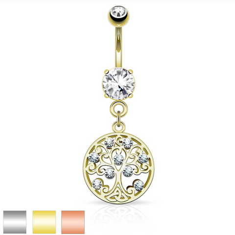 CZ Tree of Life Dangle on Round CZ Prong set 316L Surgical Steel Belly Button Rings - BodyDazzle