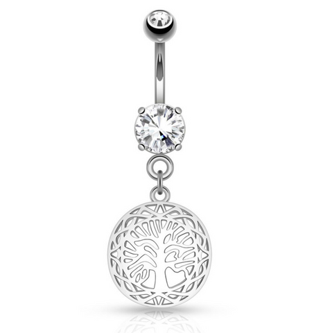 Round Tree of Life Dangle on Round CZ Prong set 316L Surgical Steel Belly Button Rings - BodyDazzle