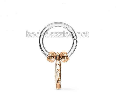 Annealed Bendable Cut Ring with Removable Fecited beads and Dangle Surgical Steel - BodyDazzles