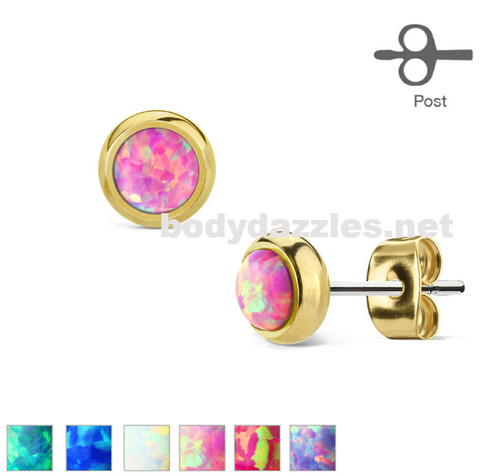 Pair of Opal Bezel Set Gold Over 316L Surgical Steel Stud Earrings 20ga
