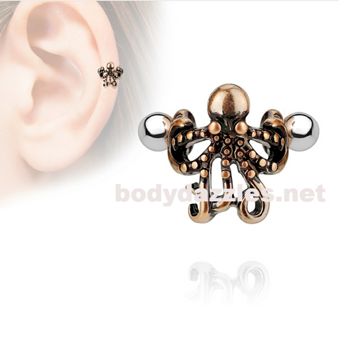 Octopus Ear Cartilage/Helix Cuff 316L Surgical Steel Barbells