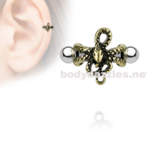 Antique Gold IP Snake Ear Cartilage/Helix Cuff 316L Surgical Steel Barbells 16ga - BodyDazzles
