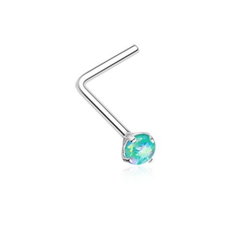 Teal Opal Sparkle Prong Set L-Shaped Nose Ring 20ga Body Jewelry - BodyDazzle