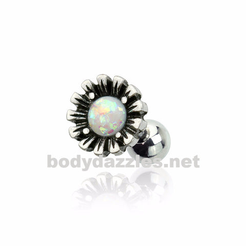 Glitter Opal Gem Centered Vintage Silver Floral Design 316L Surgical Steel Cartilage Barbell