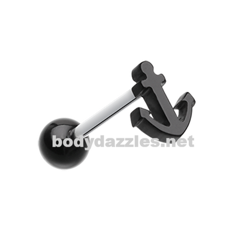 Anchor Black Acrylic Barbell Tongue Ring 14ga Surgical Steel - BodyDazzles