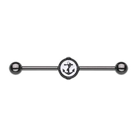 Blackline Anchor Industrial Barbell 14ga Surgical Stainless Body Jewelry - BodyDazzle