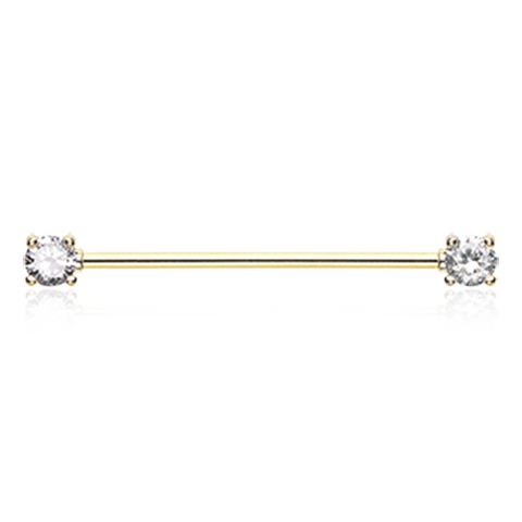 Golden Dainty Sparkles Industrial Barbell 14ga Surgical Steel Scaffold Piercing 316L Surgical Stainless Steel - BodyDazzle