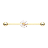 Daisy Gold Industrial Barbell 14ga Scaffold Piercing Body Jewelry - BodyDazzle - 2