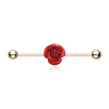 Metal Rose Golden Industrial Surgical Steel 14ga Scaffold Bar - BodyDazzle - 2