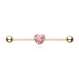 Gold Heart Multi-Gem Sparkling Industrial Barbell 14ga Scaffold Piericing - BodyDazzle - 2
