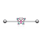 Glam Sparking Butterfly Industrial Barbell 14ga Scaffold Piercing - BodyDazzle - 2