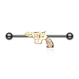 Pistol Blackline Golden Revolver Sparkle Industrial Barbell 14ga Scaffold Piercing - BodyDazzle - 2