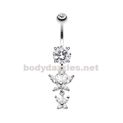 Double Glam Butterfly Belly Button Ring Navel Ring 14ga Surgical Steel
