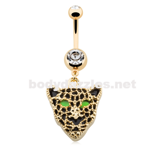 Golden Black Onyx Panther Belly Button Ring 14ga Navel Ring - BodyDazzle