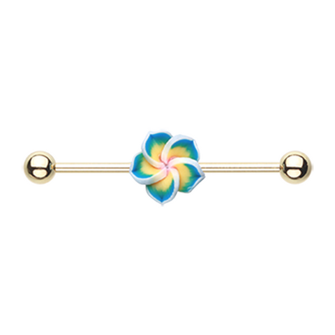 Golden Hawaiian Plumeria Industrial Barbell 14ga Surgical Stainless Body Jewelry - BodyDazzle