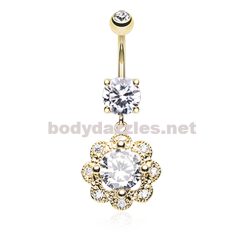 Golden Dazzling Flower Belly Button Ring Navel Ring 14ga Surgical Steel