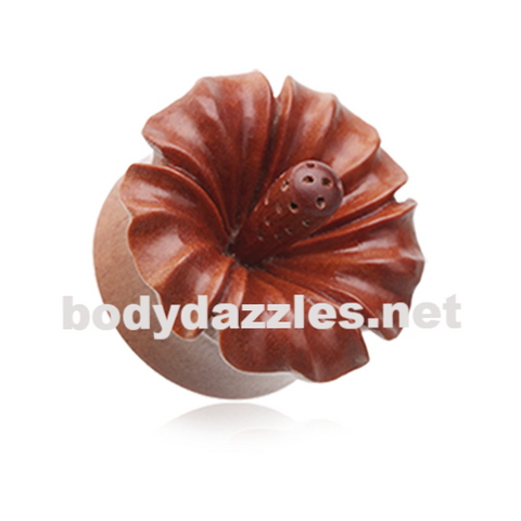 Hibiscus Flower Natural Sawo Wood Ear Gauge Plug Body Jewelry - BodyDazzle