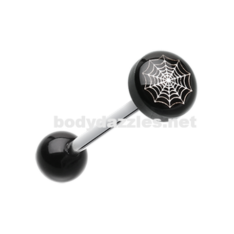Spider Web Logo Acrylic Barbell Tongue Ring 14ga Surgical Steel