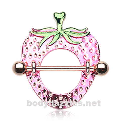 Pair of Rose Gold Cute Strawberry Nipple Shield Ring 14ga