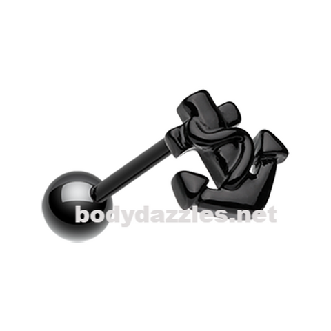 Black Colorline Anchor Steel Barbell Tongue Ring 14ga Surgical Steel
