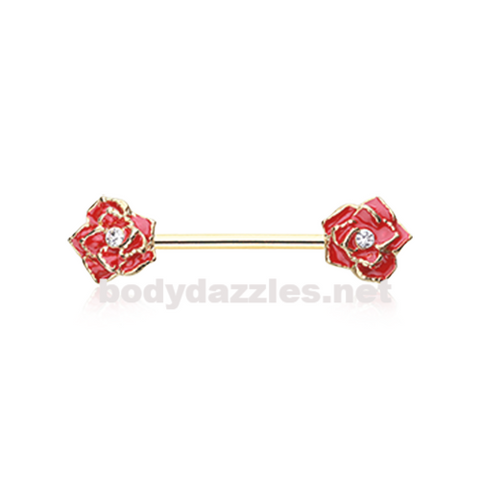 Pair of Golden Classic Red Rose Sparkle Nipple Barbell Ring 14ga Body Jewelry