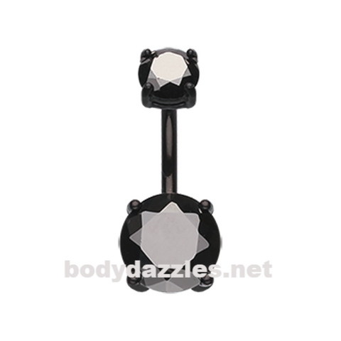 Black Colorline Gem Prong Sparkle Belly Button Ring Stainless Steel Body Jewelry - BodyDazzle