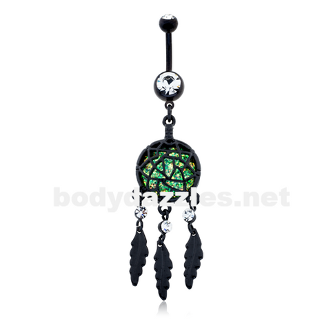 Blackline Opal Dreamcatcher Feather Belly Button Ring Navel Ring 14ga - BodyDazzle