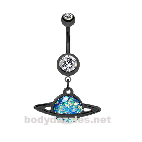 Black Saturn Planet Opal Belly Button Ring Stainless Steel Body Jewelry - BodyDazzle
