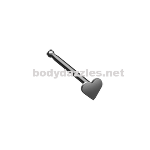 Black Colorline Steel Heart Nose Stud Ring 20ga Body Jewelry