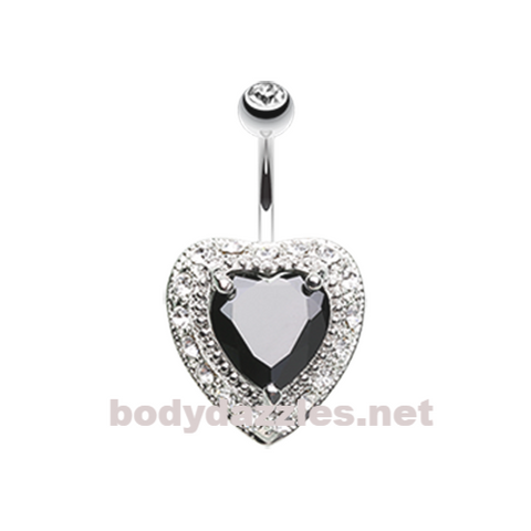 Black Heart Extravagant Belly Button Ring Surgical Steel Body Jewelry - BodyDazzle