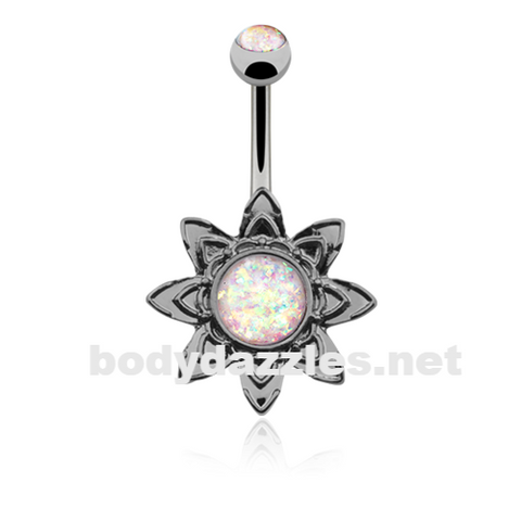 Hematite Blooming Opal Flower Belly Button Ring14ga Navel Ring - BodyDazzle