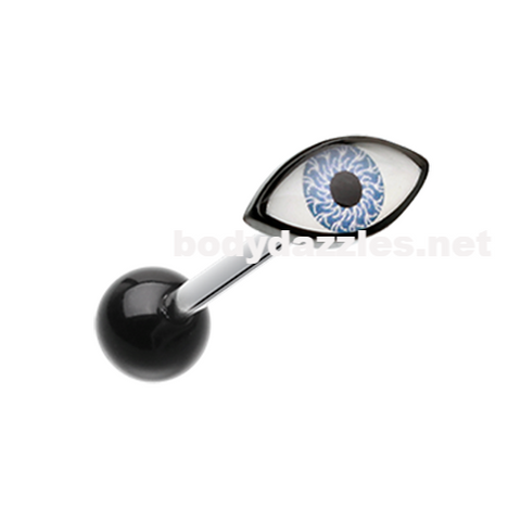Evil Eye Acrylic Barbell Tongue Ring  14ga Surgical Steel - BodyDazzle