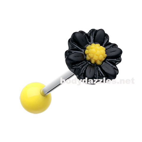 Black Adorable Daisy Acrylic Barbell Tongue Ring  14ga Surgical Steel - BodyDazzle