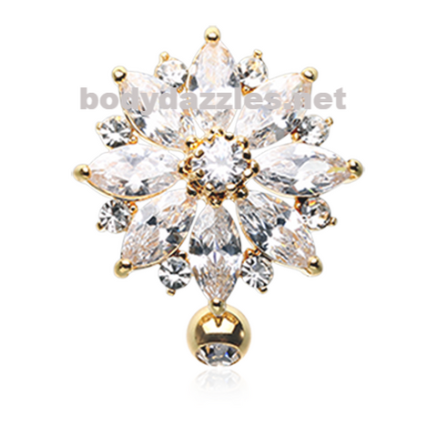 Golden Radiant Flower Multi-Gem Reverse Belly Button Ring Stainless Steel Body Jewelry - BodyDazzle