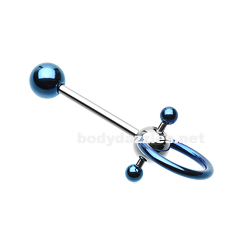 Blue Double Ball Slave Barbell Ring Tongue Ring  14ga Surgical Steel - BodyDazzle