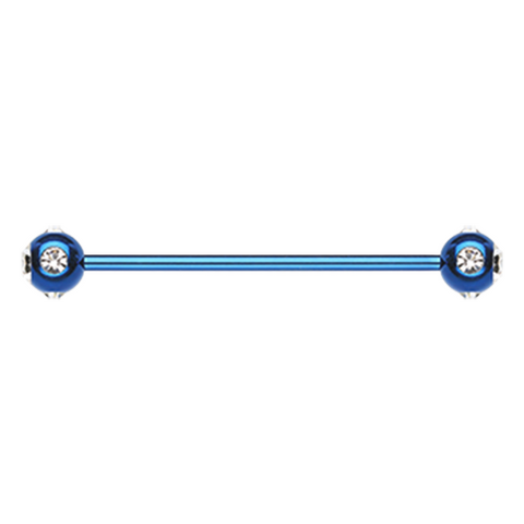 Blue Gem Ball Industrial Barbell 14ga Surgical Stainless Body Jewelry - BodyDazzle