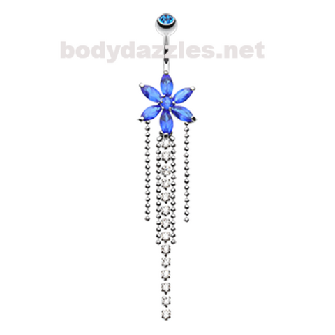 Enchanting Flower Chandelier Belly Button Ring Navel Ring 14ga Surgical Steel