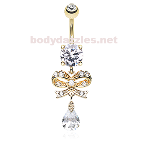 Rose Gold Romantic Gem Bow Tie Belly Button Ring Navel Ring 14ga Surgical Steel