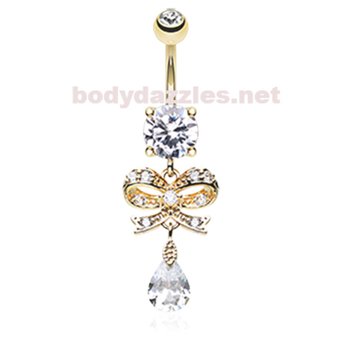 Rose Gold Romantic Gem Bow-Tie Belly Button Ring Navel Ring 14ga Surgical Steel