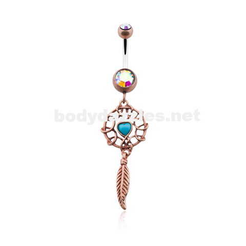Bronze Antique Turquoise Heart Dreamcatcher Belly Button Ring 14ga Navel Ring - BodyDazzle