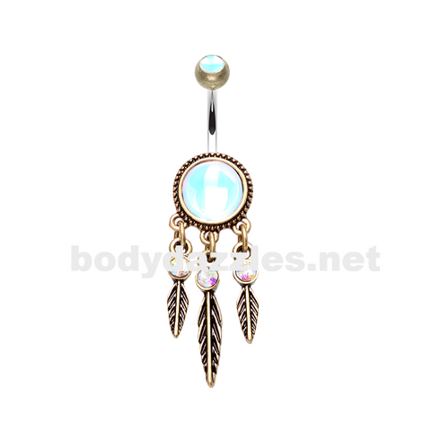 Antique Legend Dreamcatcher Belly Button Ring 14ga Navel Ring - BodyDazzle