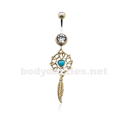 Antique Turquoise Heart Dreamcatcher Belly Button Ring 14ga Navel Ring - BodyDazzle