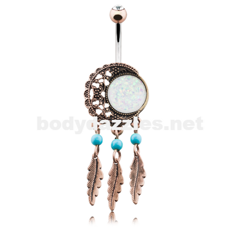 Vintage Boho Filigree Moon Dreamcatcher Opal Belly Button Ring Navel Ring 14ga - BodyDazzle