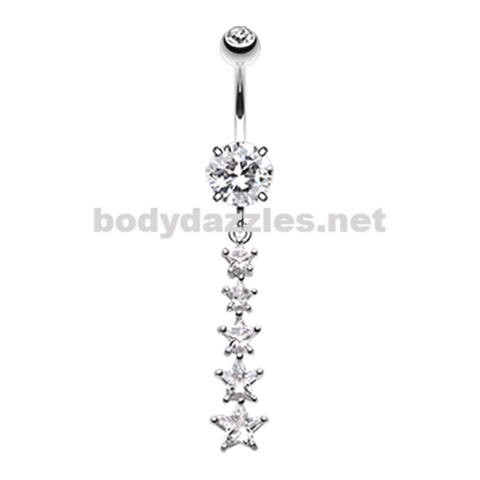 Dazzling Star Journey Belly Button Ring Navel Ring 14ga Surgical Steel