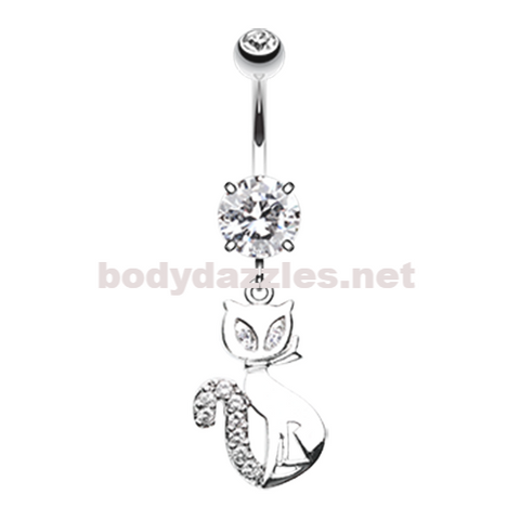 Urban Kitty Cat Belly Button Ring Navel Ring 14ga Surgical Steel