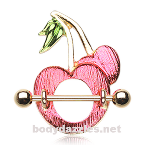 Pair of Golden Sweet Cherries Nipple Shield Ring 14ga