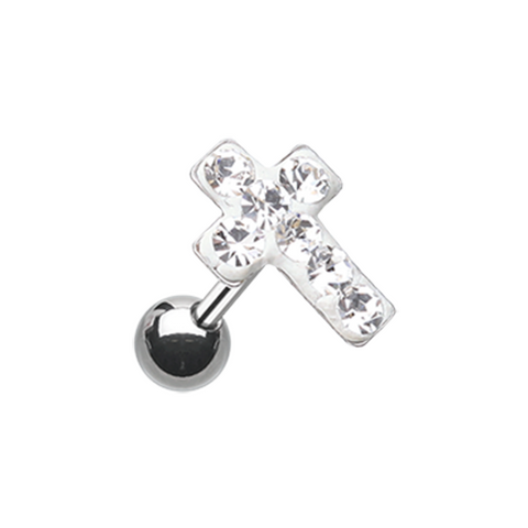 White Sparkling Cross Multi-Sprinkle Dot Multi-Gem Cartilage Tragus Helix 16ga Surgical Steel - BodyDazzle