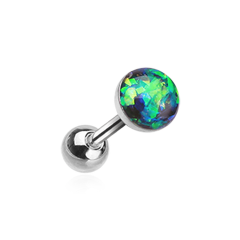 Green Opal Sparkle Cartilage Tragus Helix Earring 16ga Surgical Steel - BodyDazzle